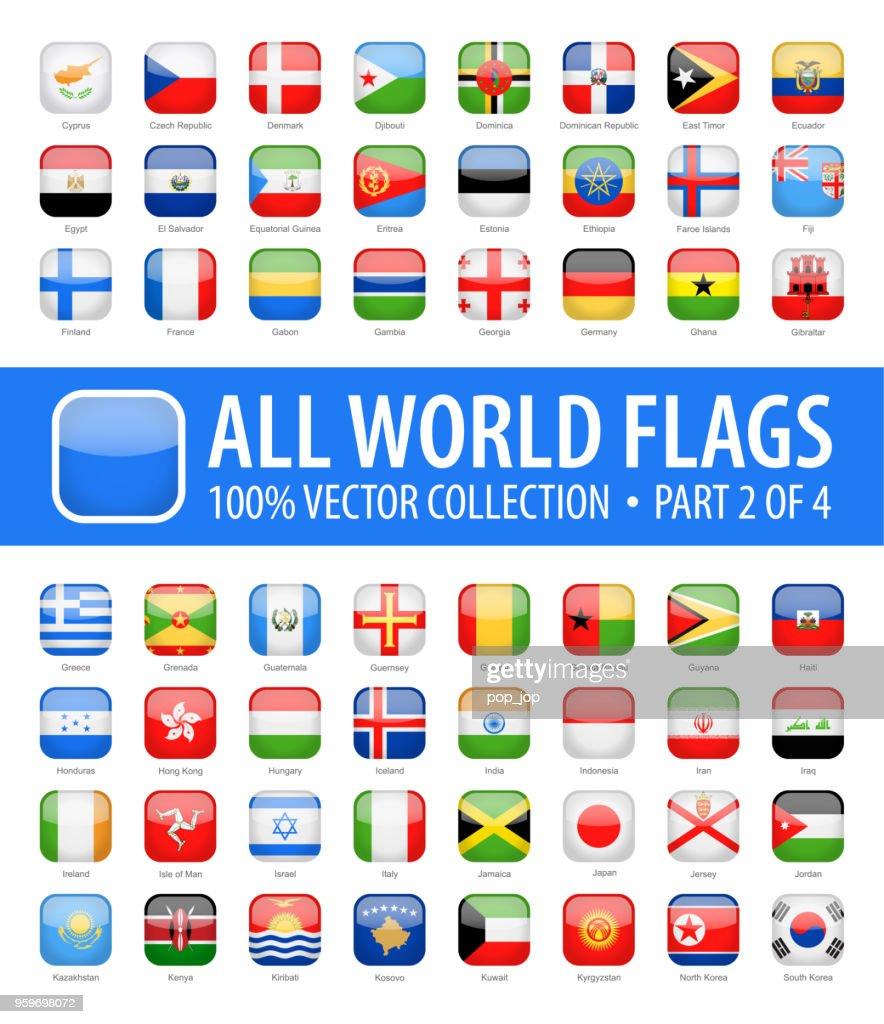 Welt-Flaggen - Vektor abgerundet quadratisch glänzend Icons - Teil 2 von 4 : Stock-Illustration