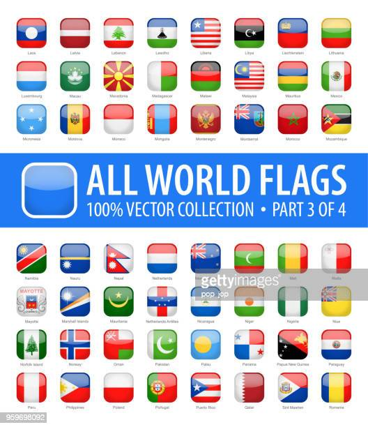 world flags - vector rounded square glossy icons - part 3 of 4 - national flag stock illustrations