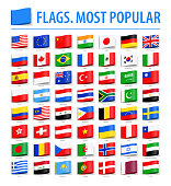 World Flags - Vector Tag Label Flat Icons - Most Popular