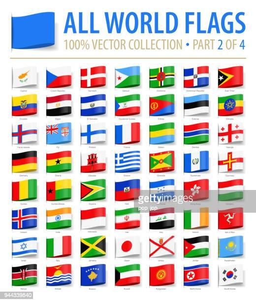 welt-flaggen - vektor-tag-label flache symbole - teil 2 von 4 - flagge von georgien stock-grafiken, -clipart, -cartoons und -symbole