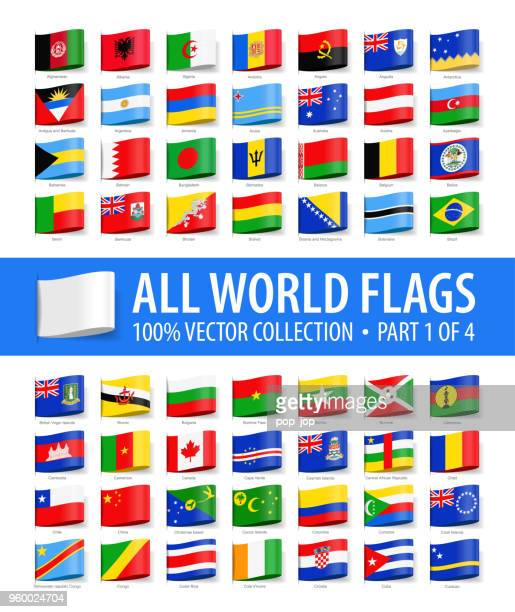 world flags - vector tag label glossy icons - part 1 of 4 - national flag stock illustrations