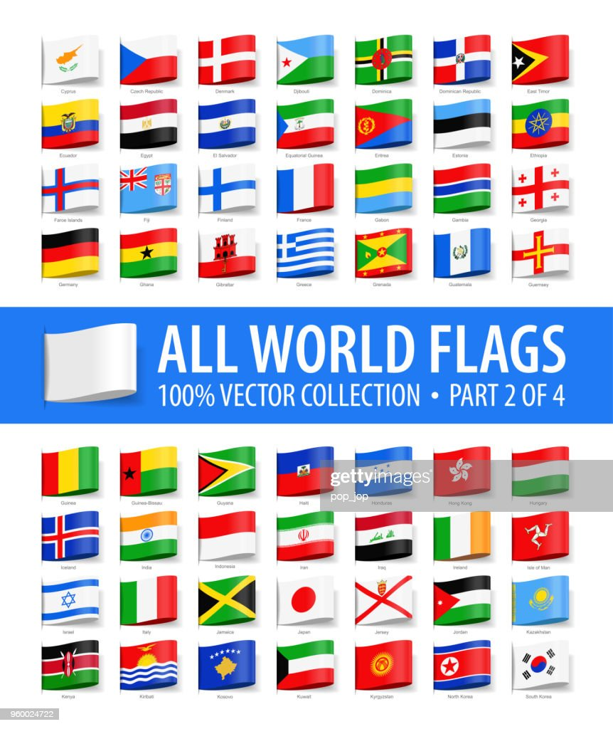 Welt-Flaggen - Vektor-Tag-Label glänzende Symbole - Teil 2 von 4 : Stock-Illustration