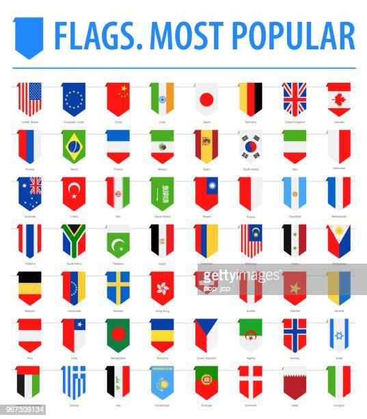 Flaggen der Welt - Vektor senkrecht Lesezeichen flache Symbole - die beliebtesten