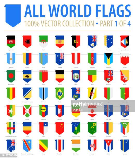 World Flags - Vector Vertical Bookmark Flat Icons - Part 1 of 4