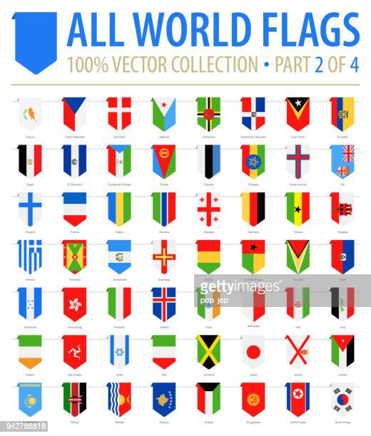 world flags - vector vertical bookmark flat icons - part 2 of 4 - vertical stock illustrations