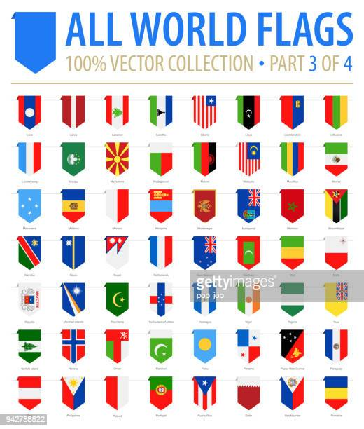 world flags - vector vertical bookmark flat icons - part 3 of 4 - vertical stock illustrations