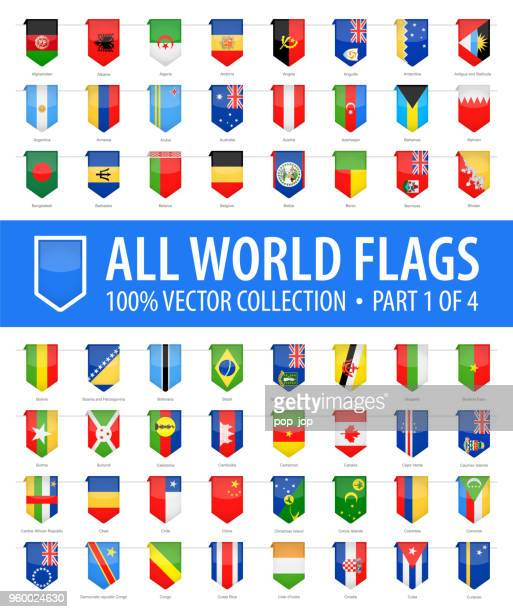 world flags - vector vertical bookmark glossy icons - part 1 of 4 - vertical stock illustrations