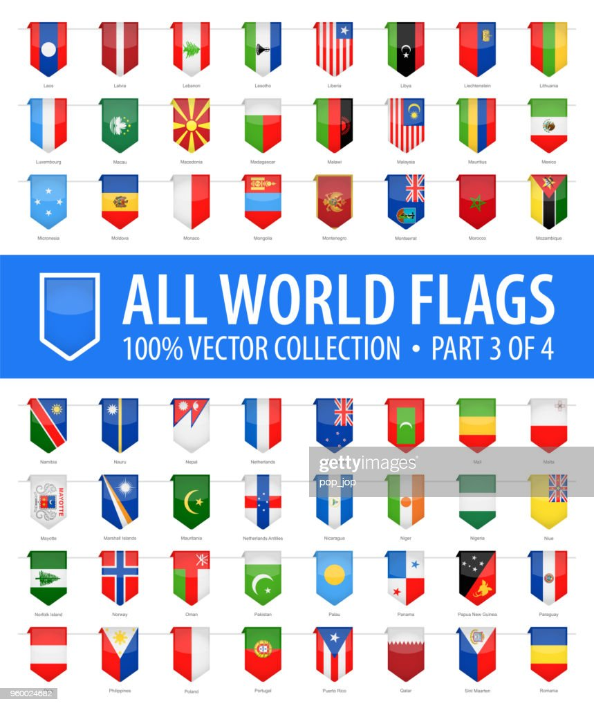 World Flags - Vector Vertical Bookmark Glossy Icons - Part 3 of 4 : stock illustration