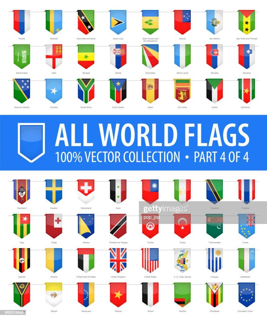 Welt-Flaggen - Vektor senkrecht Lesezeichen glänzende Symbole - Teil 4 von 4 : Stock-Illustration