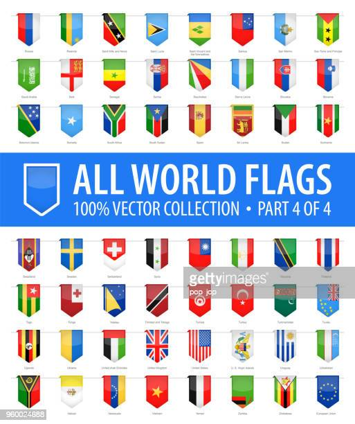 World Flags - Vector Vertical Bookmark Glossy Icons - Part 4 of 4