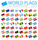 World Flags - Vector Waving Flat Icons - Part 2 of 4