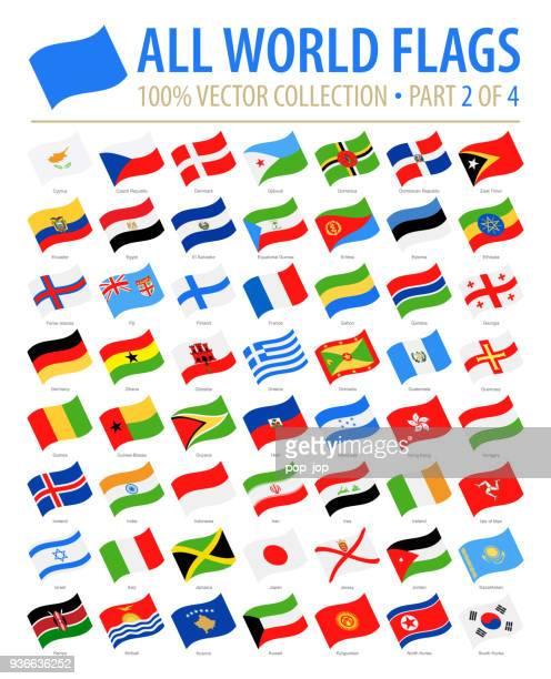 flaggen der welt - vector winken flache icons - teil 2 von 4 - flagge von georgien stock-grafiken, -clipart, -cartoons und -symbole