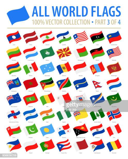 flaggen der welt - vector winken flache icons - teil 3 von 4 - monaco stock-grafiken, -clipart, -cartoons und -symbole