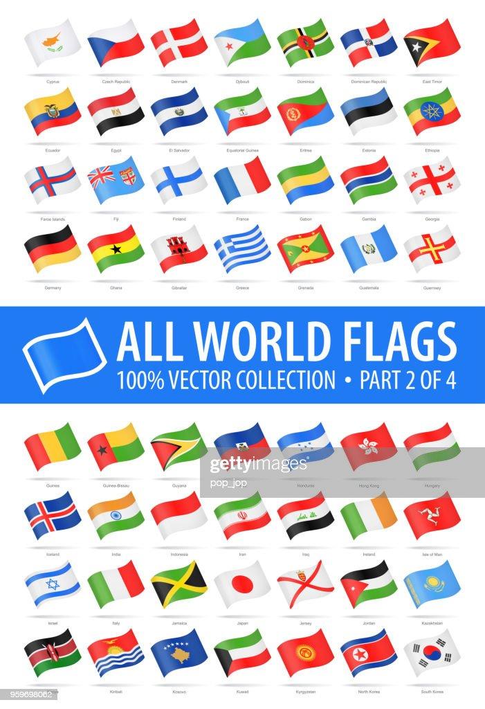 Welt-Flaggen - Vector winken glänzende Icons - Teil 2 von 4 : Stock-Illustration