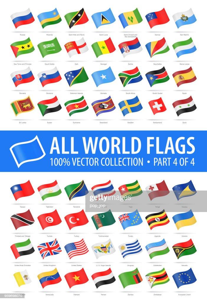 Welt-Flaggen - vektor winken glänzende Symbole - Teil 4 von 4 : Stock-Illustration