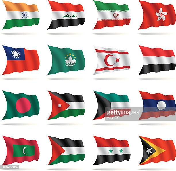world flags waving - kuwait stock illustrations, clip art, cartoons, & icons