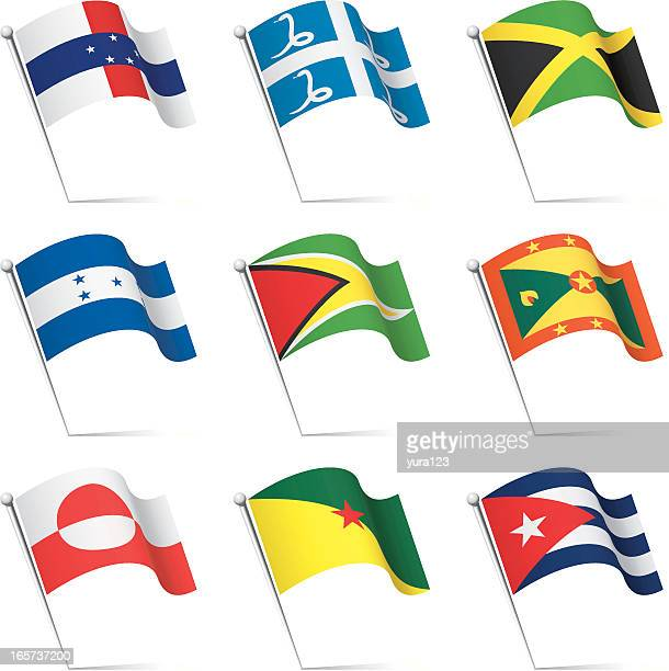 world flags waving - martinique stock illustrations