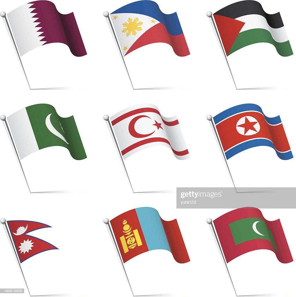 World flags waving : stock illustration