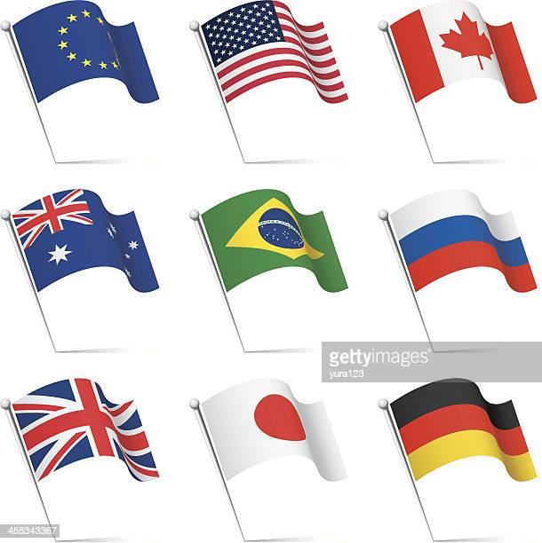 world flags waving - canadian flag stock illustrations