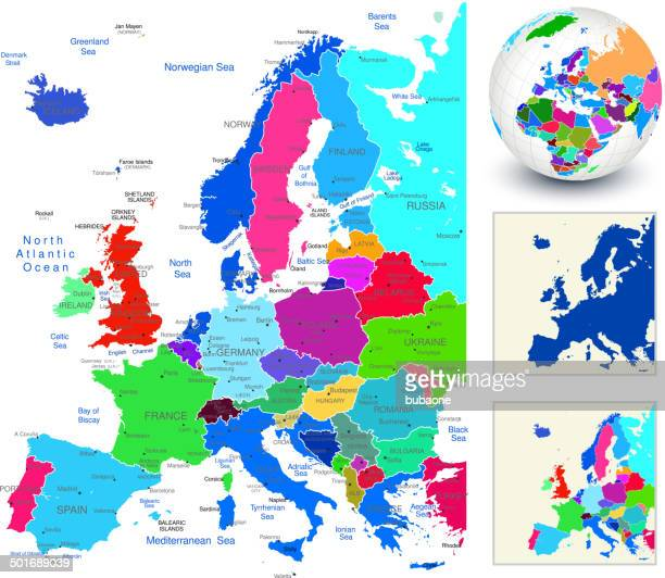 world geography europe - capital cities stock illustrations