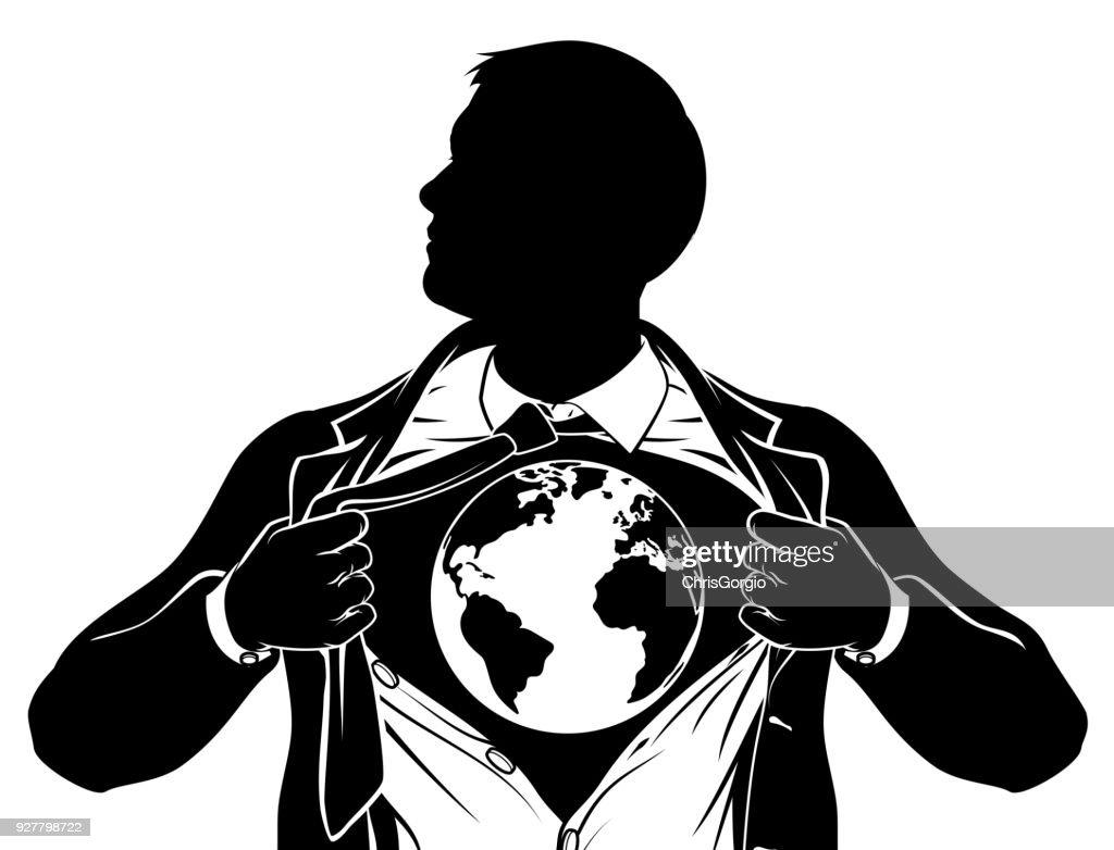 World Globe Business Superhero Tearing Shirt Chest