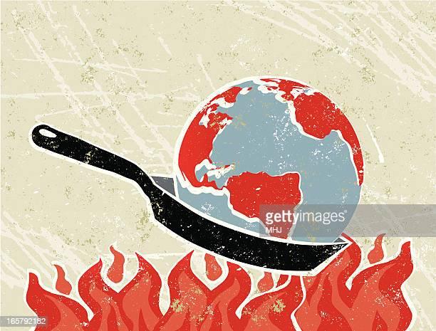 Monde monde dans une poêle avec flammes