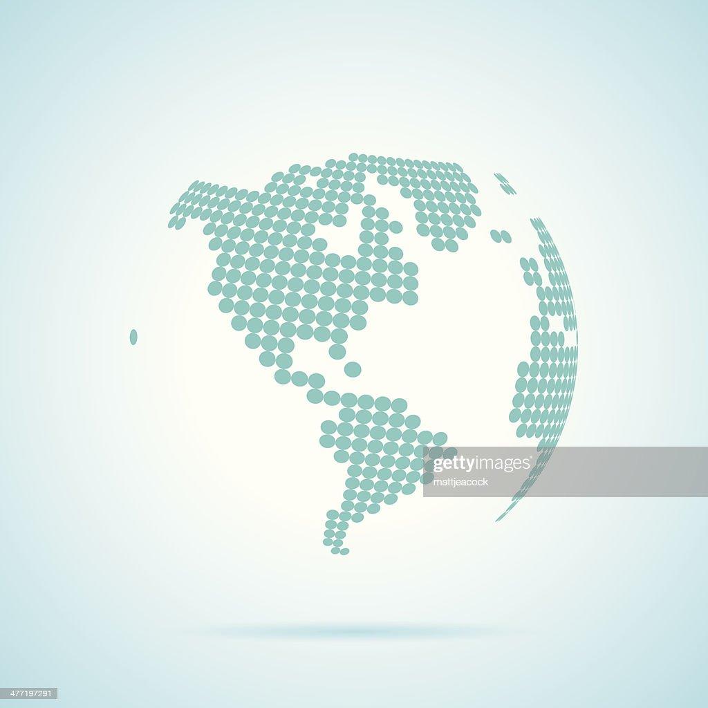 a world globe map made up of dots vector art