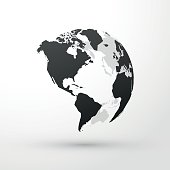 World globe north, central and south america