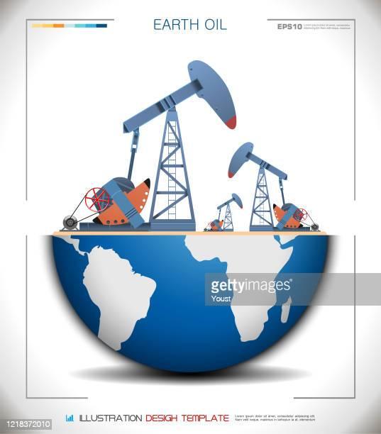 ilustraciones, imágenes clip art, dibujos animados e iconos de stock de world globe oil pump jack - corteza terrestre