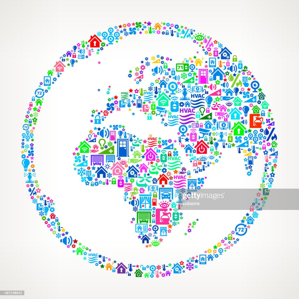 World Globe on Home Automation and Security Vector Background : stock vector