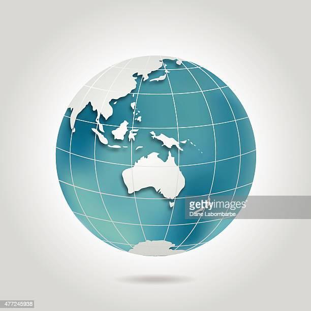 World Globe mit Australien In Blaugrün und Grau