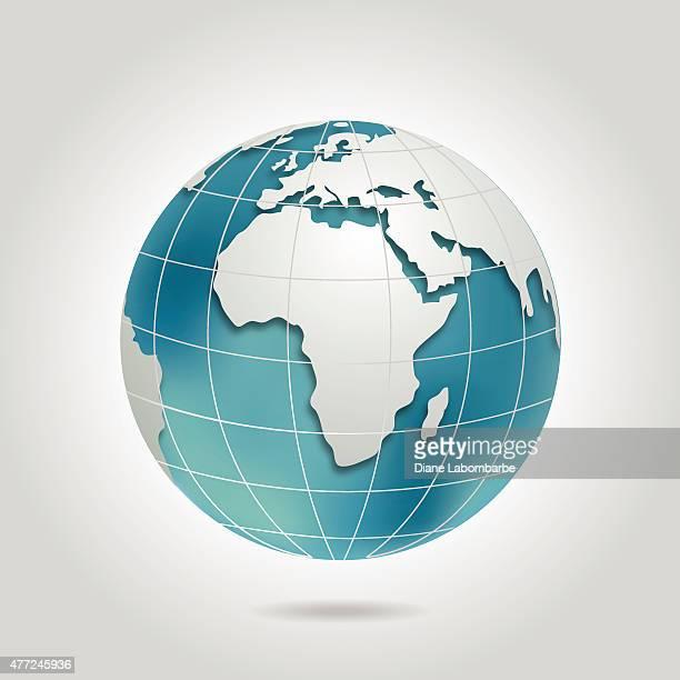 World Globe mit Europa In Blaugrün und Grau