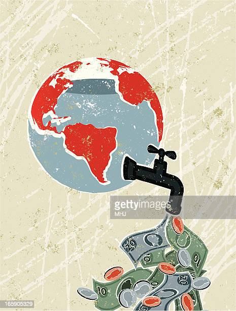world globe with faucet leaking money - money out the window stock illustrations, clip art, cartoons, & icons