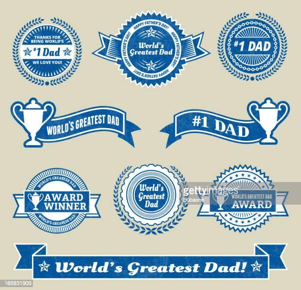 ilustrações, clipart, desenhos animados e ícones de world maior#1 pai medalha de vetor royalty free conjunto de ícones - great seal