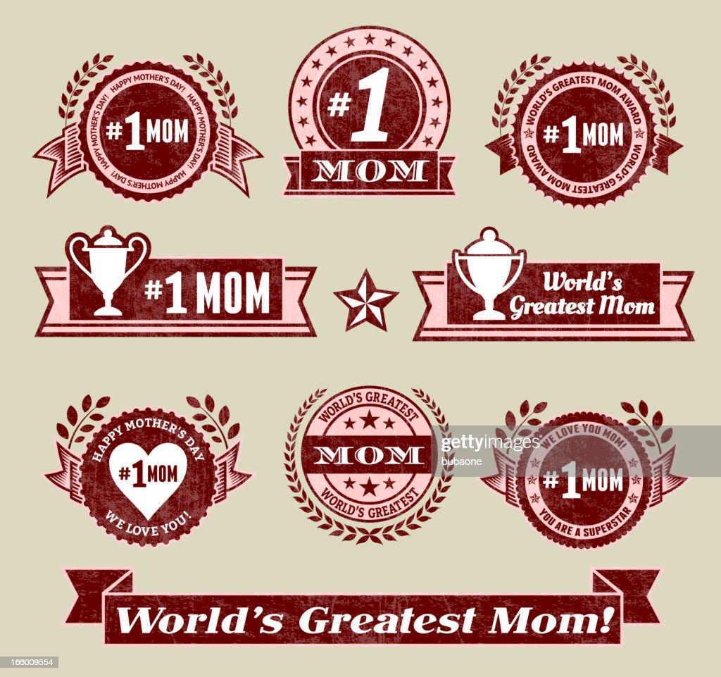 World Greatest #1 Mom grunge badge set : Vector Art