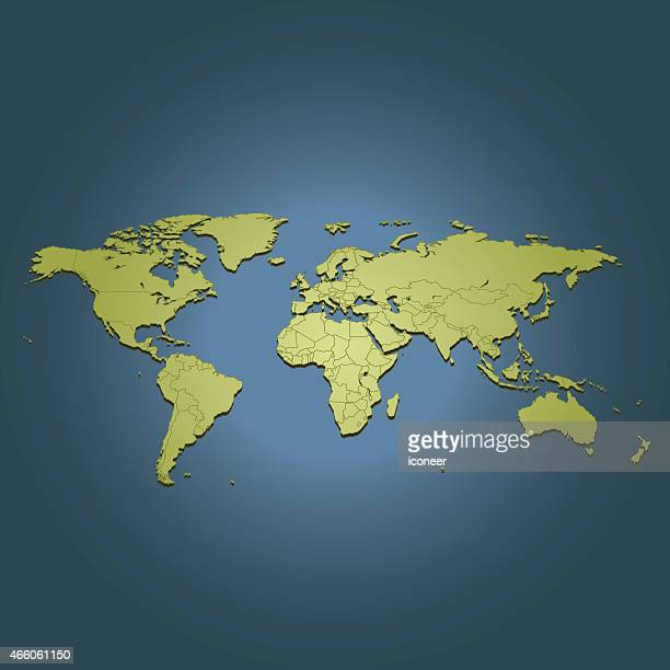 World green travel map on dark background in perspective view
