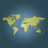 World green travel map on dark blue background
