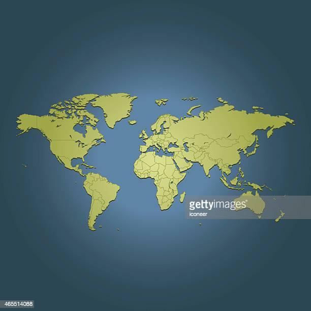 World green travel Karte auf dunkel blauem Hintergrund