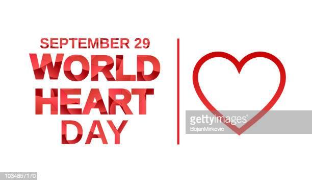 stockillustraties, clipart, cartoons en iconen met wereld hart dag banner met papier snijden brieven. 29 september. vectorillustratie. - september