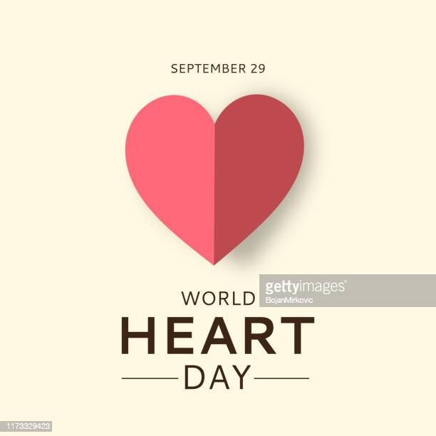 world heart day card with paper heart. september 29. vector - heart symbol stock illustrations