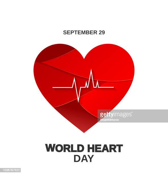 world heart day poster with paper cut heart, september 29. vector illustration. - month stock illustrations
