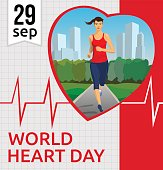 World Heart Day Vector illustration With Jogging Girl