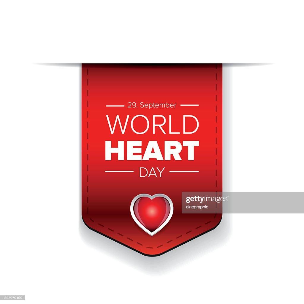 World Heart Day vector ribbon