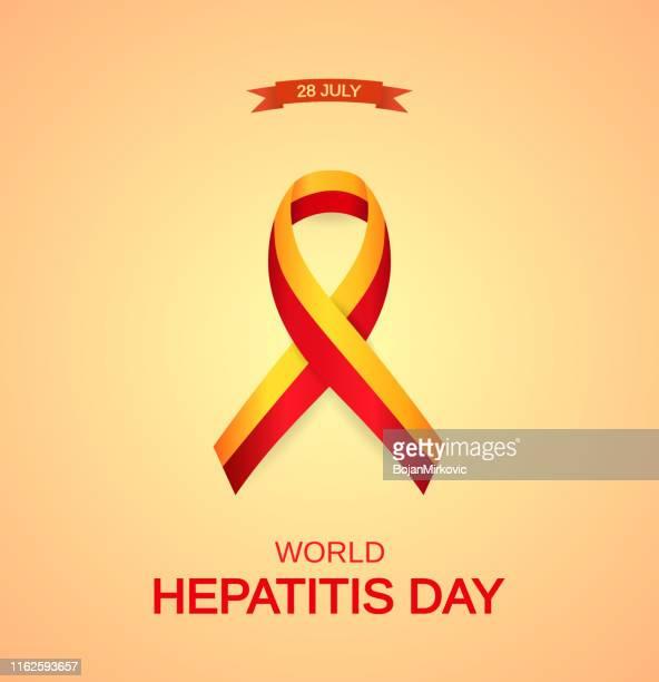 world hepatitis day card with awareness symbol. orange background. vector - hepatitis stock illustrations