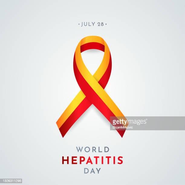 world hepatitis day card with awareness symbol. vector - hepatitis stock illustrations