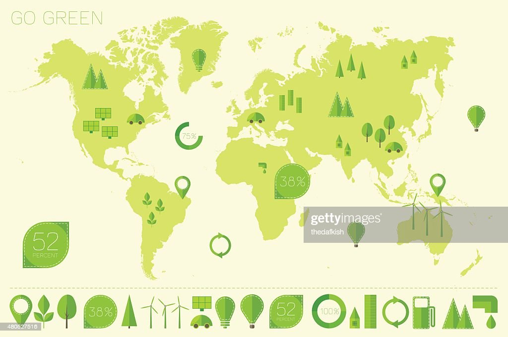 World high detailed map ecology eco icons vector : Vector Art
