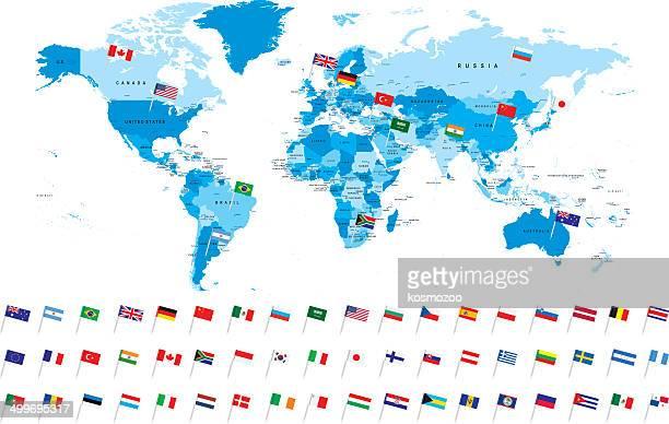 der höchst detaillierte karte mit beliebten flagge - hauptstadt stock-grafiken, -clipart, -cartoons und -symbole