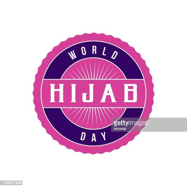 world hijab day label - religious dress stock illustrations, clip art, cartoons, & icons