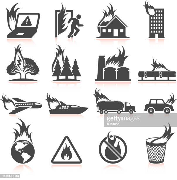 World in flames and fire disaster black & white icons