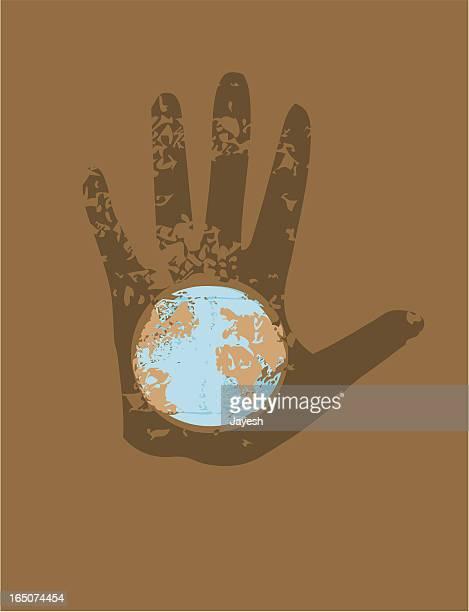 ilustraciones, imágenes clip art, dibujos animados e iconos de stock de mano en el mundo - huella de mano